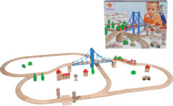 EICHHORN Bahn, Bahnset mit Brücke Holzeisenbahn, Mehrfarbig