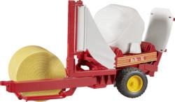BRUDER Ballenwickler+2 Rundballen (rot/weiß) Spielzeugfahrzeug, Mehrfarbig