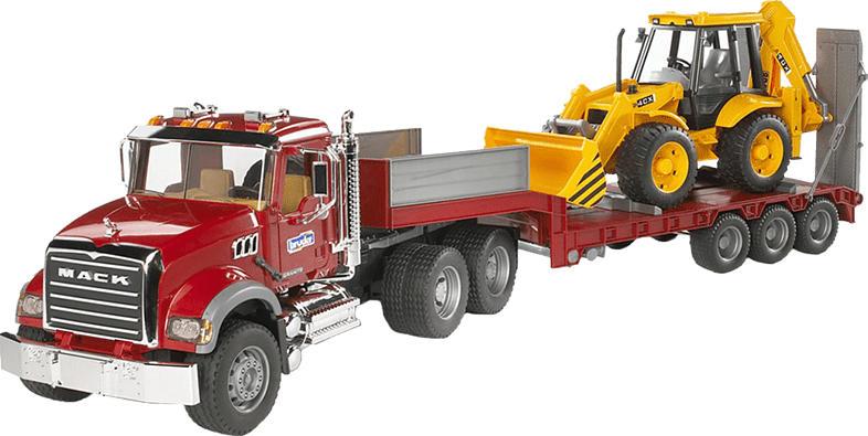 BRUDER MACK Granite LKW , Tieflader + Bagger Spielzeugfahrzeug, Mehrfarbig
