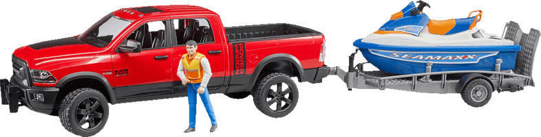 BRUDER Ram 2500 Power Wagon mit Anhänger Spielzeugfahrzeug, Mehrfarbig