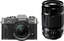 FUJIFILM X-T30 Systemkamera 26.1 Megapixel mit Objektiv 18-55 mm und 55-200 mm , 7.6 cm Display   Touchscreen, WLAN