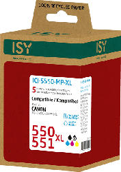 ISY ICI-5550-MP-XL Tintenpatrone Multipack, wiederaufbereitete Tintenpatrone 550 XL und 551 XL Mehrfarbig