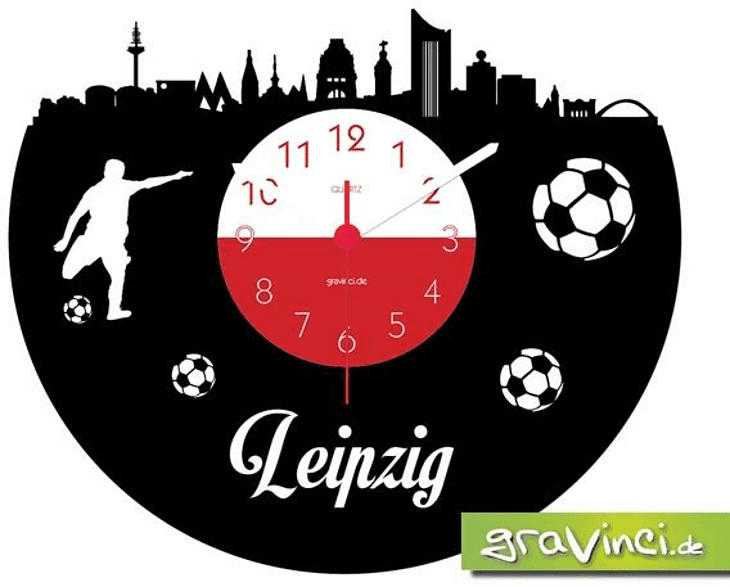 GRAVINCI Leipzig Fan-Sport Fußball Deutschland Vinyl Schallplattenuhr, Mehrfarbig