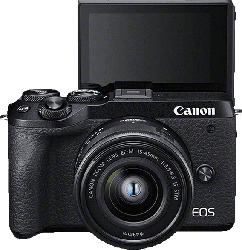 CANON EOS M6 Mark II Body Systemkamera 32.5 Megapixel mit Objektiv 15-45 mm , 7.5 cm Display   Touchscreen, WLAN