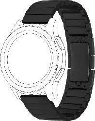 TOPP Metall, Ersatz-/Wechselarmband, Samsung, Huawei, Gear S3 (frontier, classic), Galaxy Watch 46 mm, Watch GT, Schwarz