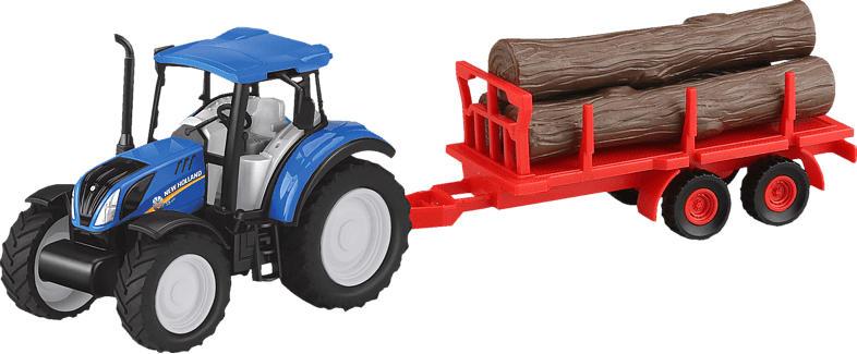 JAMARA KIDS New Holland Traktor Anhänger + Baumstämme Set 1:32 Kinderspielsachen, Rot/Braun
