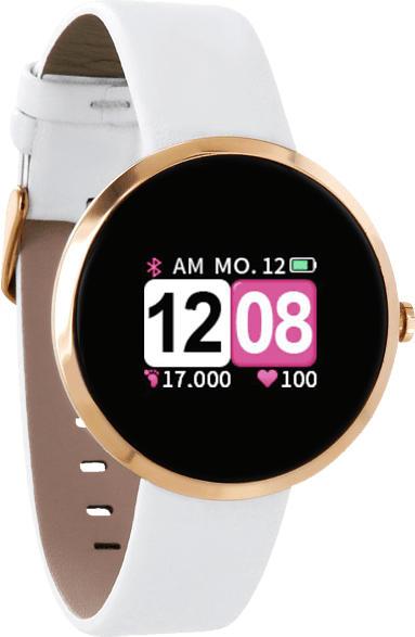 XLYNE  X-WATCH SIONA COLOR FIT (54035) Smartwatch Metall, Echtleder, 234 mm, Gehäuse: Rosé Gold/Armband: Polar white