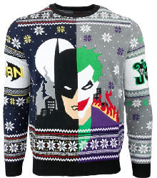 NUMSKULL BATMAN VS JOKER CHRISTMAS JUMPER / SWEATER M Strickpullover, Mehrfarbig