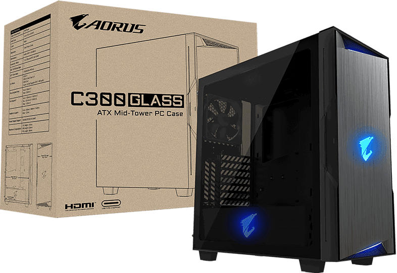 GIGABYTE GB-AC300G PC Gehäuse, Schwarz