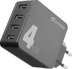 CELLULAR LINE Multipower 4, Quattro USB 42W Ladegerät, Schwarz