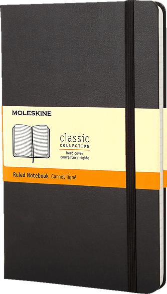 MOLESKINE Notizbuch, Large/A5, Liniert, Hard Cover, Schwarz Notizbuch, Schwarz