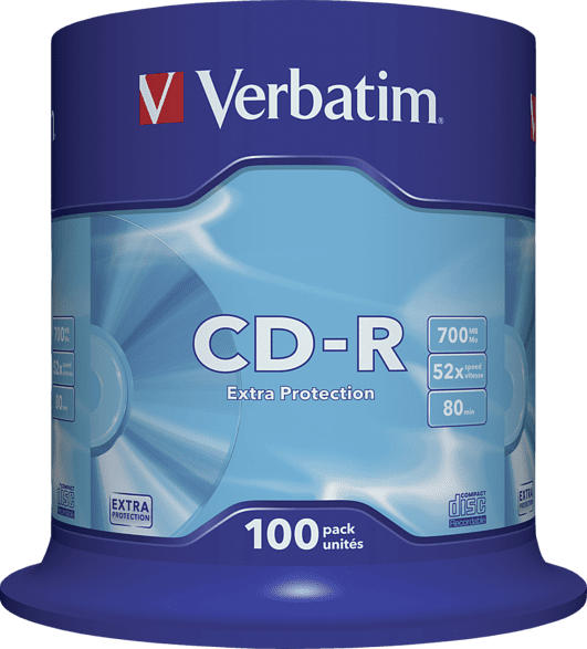 VERBATIM 1x100 Data Life CD-R 80 700MB, 52x Speed, Spindel CD-Rohlinge