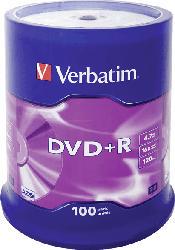 VERBATIM 1x100 DVD+R 4, 7GB 16x Speed, matt silver DVD-Rohlinge