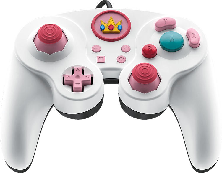 PDP LLC Smash Pad Pro Peach Nintendo Switch Wired Controller, Weiß