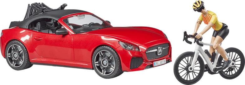 BRUDER BRUDER Roadster mit Rennrad u. Radfahrer Spielzeugset, Rot