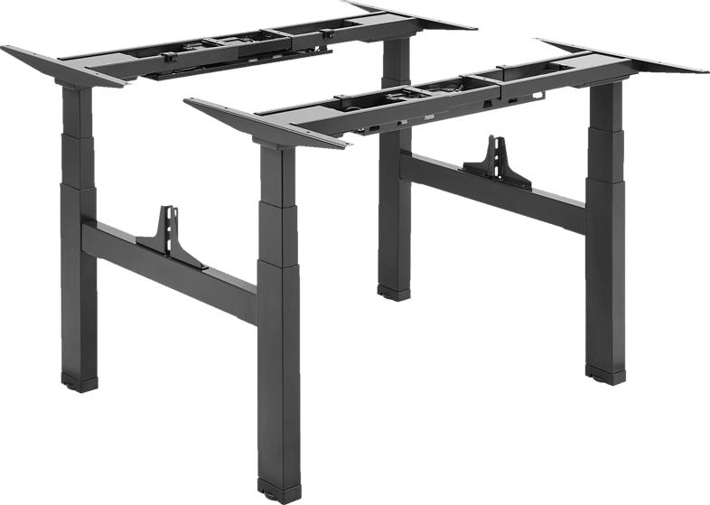 DIGITUS DIGITUS DA-90393 Elektrisch höhenverstellbares Tischgestell mit 2 Tischplatten, Doppel-Arbeitsplatz Elektrisch höhenverstellbares Tischgestell, Schwarz