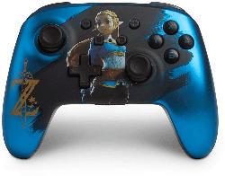 POWER A PowerA Enhanced Wireless Controller für Nintendo Switch - Satinblau verchromter Zelda Controller, Blau