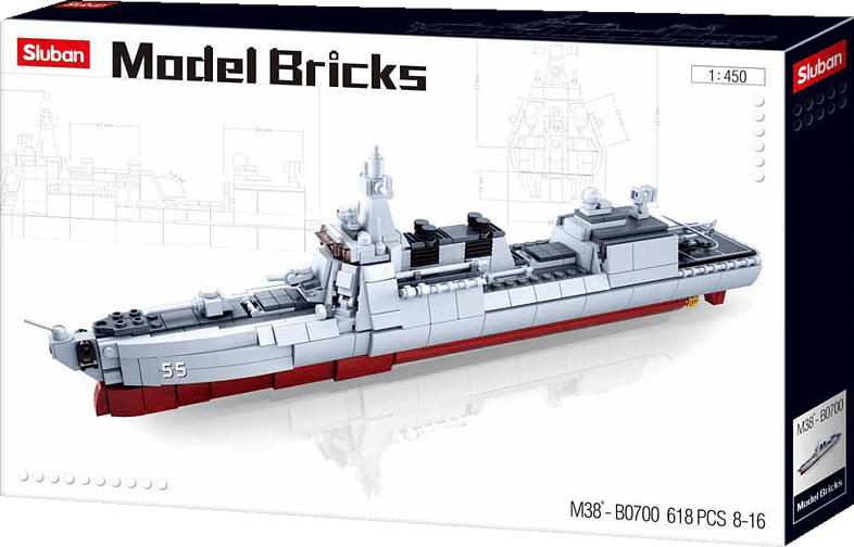 SLUBAN Zerstörer II (617 Teile) Konstruktionsspielzeug, Mehrfarbig