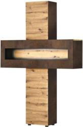 Vitrine Boba, Décor artisanal/chêne rouille à travers -