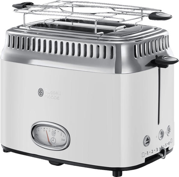 RUSSELL HOBBS 21683-56 Retro Classic Blanc Toaster Edelstahl/Weiß (1300 Watt, Schlitze: 2)