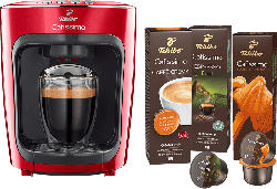 TCHIBO CAFISSIMO mini + 30 Kapseln (Espresso und Caffè Crema) Kapselmaschine Rot