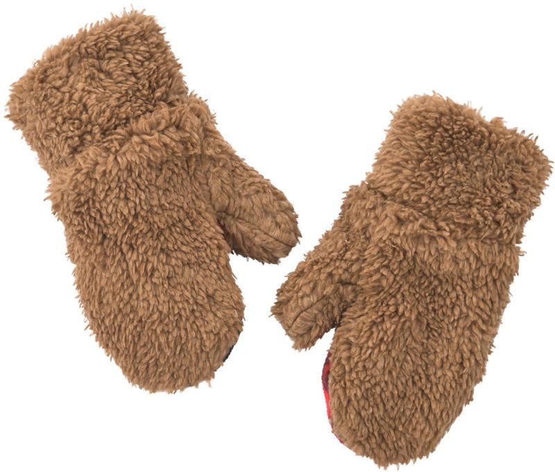 Baby Handschuhe aus Teddyplüsch (Nur online)
