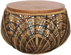 Hocker in Holz, Metall, Naturmaterialien Naturfarben, Schwarz