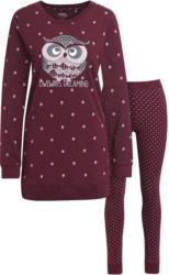 Damen Schlafanzug mit Eulen-Print (Nur online)