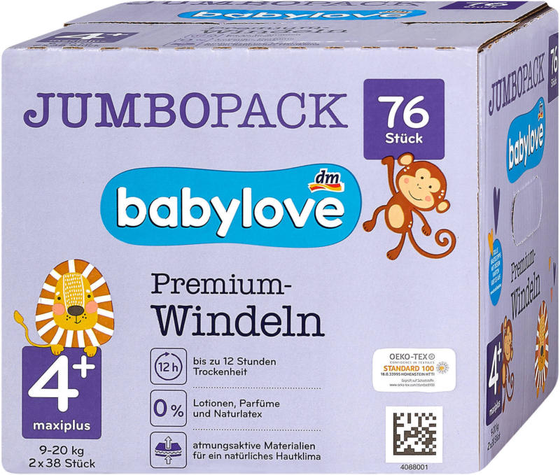 babylove Premium-Windeln Gr. 4+ maxiplus (9-20 kg) Jumbo Pack