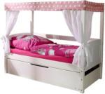 Möbelix Himmelbett mit Ausziehfunktion 80x160 Lino Mini, Rosa/Weiß