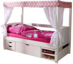 Möbelix Himmelbett Echtholz Massiv 80x160 Lino Mini, Rosa/Weiß