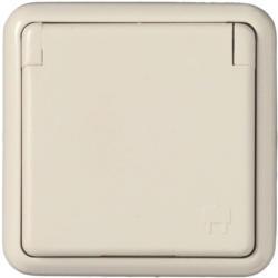 Feuchtraum-Steckdose mit Klappdeckel, Unterputz, creme weiß