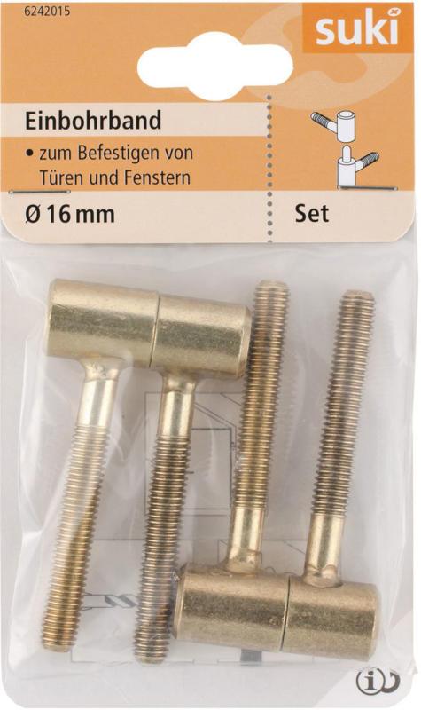 Einbohrband, Stahl, Ø1,6xØ0,85x6cm, vermessingt, 2 Stück vermessingt | Ø1,6xØ0,85x6   cm