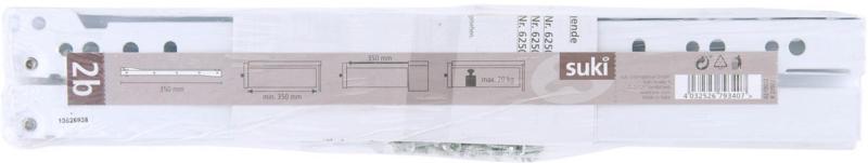 Rollschubführung, weiß, 35cm 35 cm