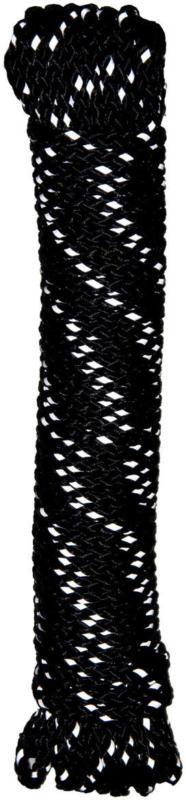 Reflektorseil, geflochten, PP, 15m, schwarz schwarz