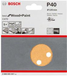 Schleifblatt P40, 125 mm, Holz, 5 Stück