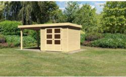 "Gartenhaus ""Askola"" mit Anbaudach 225 cm, naturbelassen, 238x242x211 cm 238x242x211 cm"