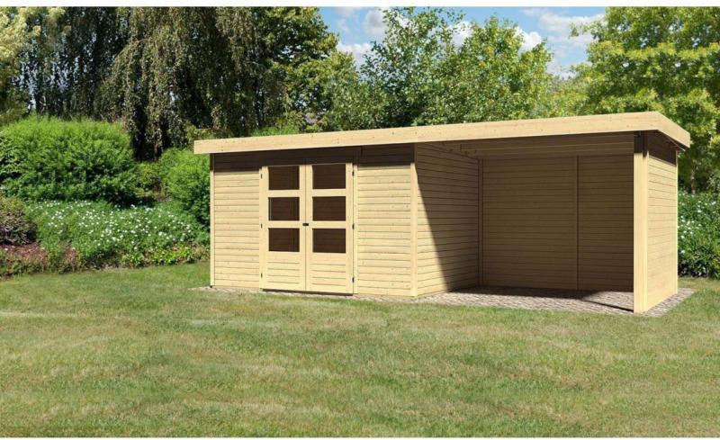 "Gartenhaus ""Askola"" mit Anbaudach 265 cm und Seiten-/Rückwand, naturbelassen, 557x217x218 cm 557x217x218 cm"