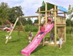 "BayWa Bau- & Gartenmärkte Spielturm ""Jungle Fort & 2-Schaukel"", inkl. fuchsiafarbener langer Rutsche rosa Rutsche"