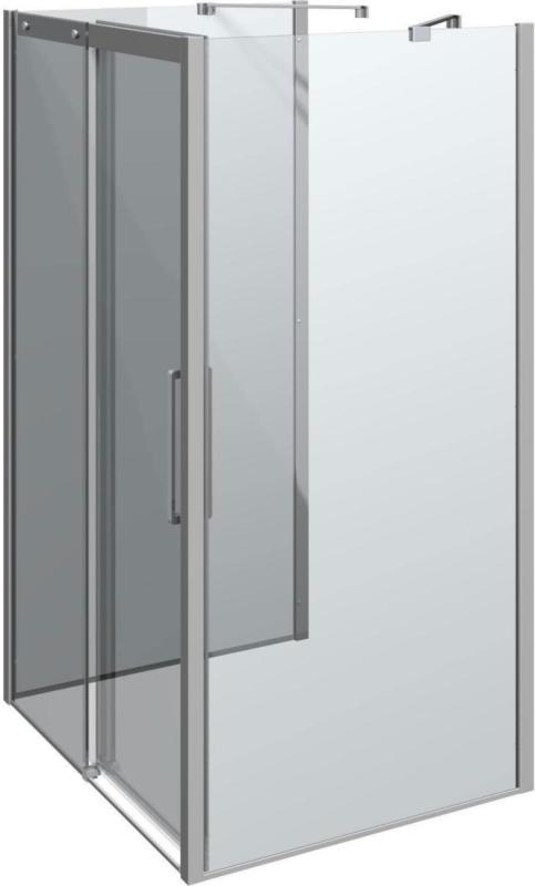 "Schiebetür mit 2 Panel ""Classic"", 120x100 cm, Chrom/Klar 100 cm | 120 cm"