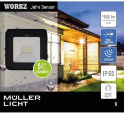 LED Außenstrahler Sensor, schwarz, 20W, BWM