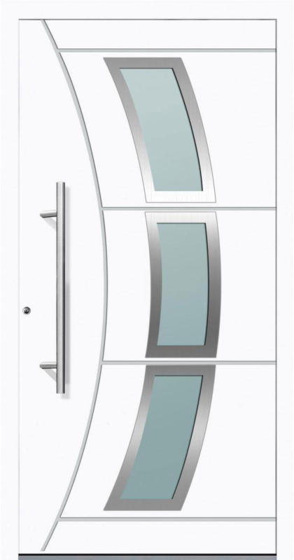 "Aluminium Sicherheits-Haustür ""Venedig Exklusiv"", 75mm, weiß, 100x210 cm, Anschlag links, RC2-zertifiziert, inkl. Griffset Links"