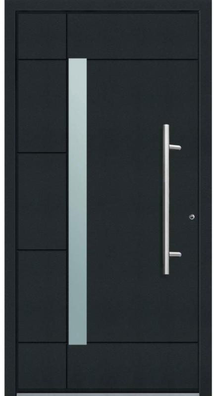"""Aluminium Sicherheits-Haustür """"Vicenza Superior"""", 60mm, anthrazit, 100x210 cm, Anschlag rechts, RC2-zertifiziert, inkl. Griffset rechts"""