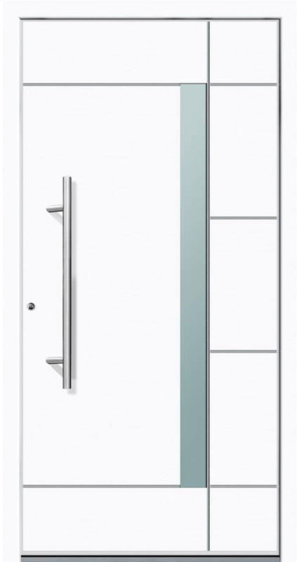 "Aluminium Sicherheits-Haustür ""Vicenza Superior"", 60mm, weiß, 100x210 cm, Anschlag links, RC2-zertifiziert, inkl. Griffset Links"