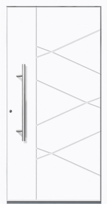 "Aluminium Sicherheits-Haustür ""Foggia Superior"", 60mm, weiß, 100x210 cm, Anschlag links, RC2-zertifiziert, inkl. Griffset Links"