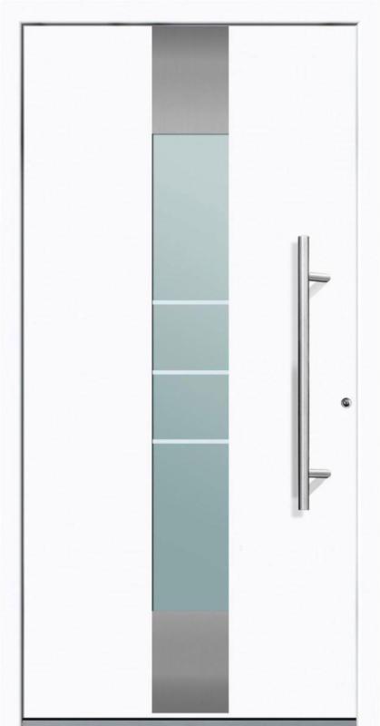 """Aluminium Sicherheits-Haustür """"Rom Exklusiv"""", 75 mm, weiß, 100x200 cm, Anschlag rechts, RC2-zertifiziert, inkl. Griffset rechts"""