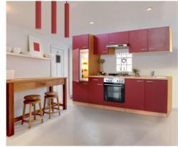 Küchenzeile 270, Buche, mit Geräten, Edelstahlherdplatten, rot rot