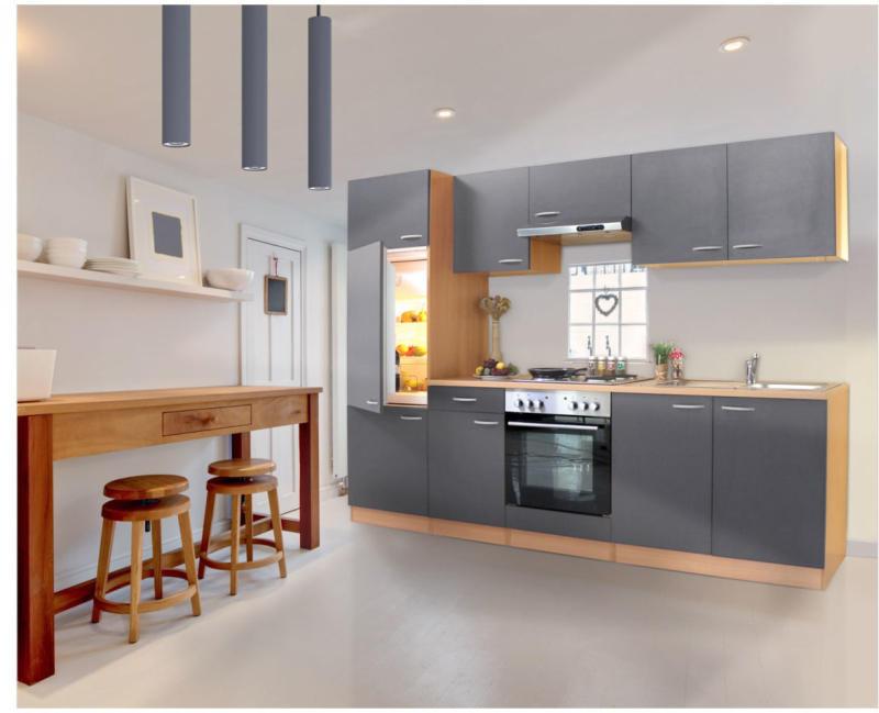 Küchenzeile 270, Buche, mit Geräten, Edelstahlplatten, grau grau