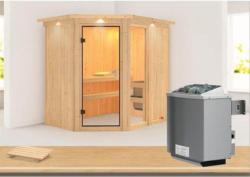 """Systemsauna """"Fiona 1"""", 68 mm, 9 kW Ofen integr. Strg., mit Dachkranz Ofen 9 kW integr. Strg    Ja"""