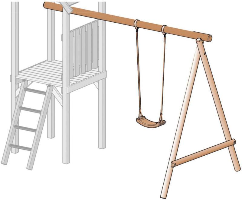 """Einzelschaukel """"Kon-Tikki"""", Kantholz Länge 300 cm, Douglasie, unbehandelt"""